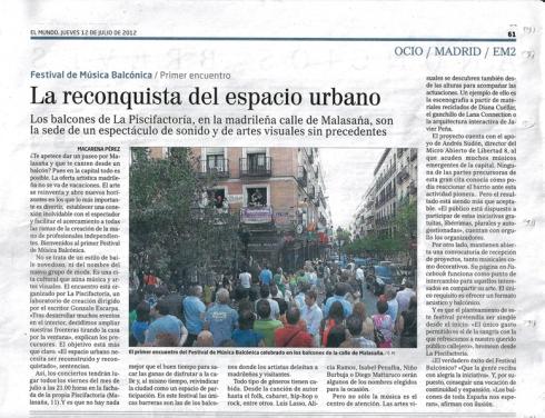Artículo publicado en El Mundo sobre el Festival de Música Balcónica en La Piscifactoría